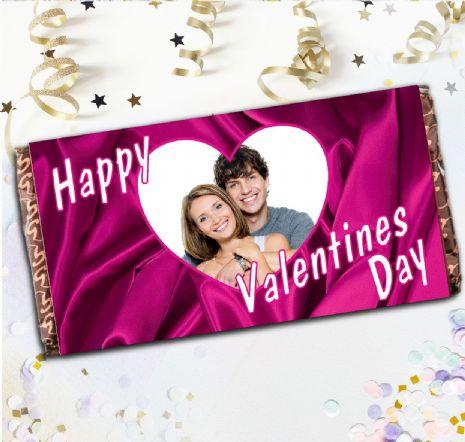 Personalised Happy Valentines Day Milk Chocolate Bar -Love Heart N3